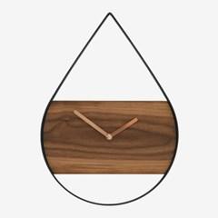 호두나무와 스틸의 심플한 조화 - 물방울 벽시계
