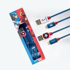 마블 어벤져스 캡틴아메리카 라이트닝 8핀 아이폰 고속충전 케이블