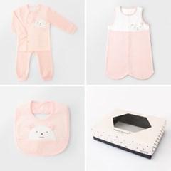 [선물하기][메르베]W곰돌이 아기 돌선물세트(내의+수면조끼+턱받이)