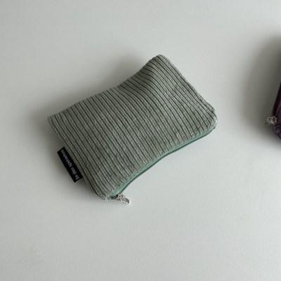 민트 골덴 파우치(Mint corduroy pouch)