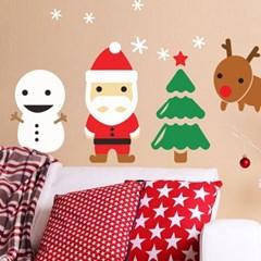 귀여운 산타와 친구들 크리스마스 겨울 인테리어 스티커