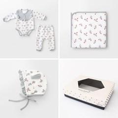 [선물하기][메르베]드라이플라워 아기 돌선물세트(슈트+속싸개+모자)