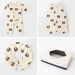 [선물하기][메르베]파마했곰 아기 돌선물세트(내의+수면조끼+턱받이)