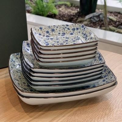 일본 도자기 아리타 스위트 사각 접시 소5p 중4p 대2p 홈세트