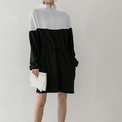 가을 오버핏 검흰배색 반집업 허리끈 맨투맨 미니 원피스
