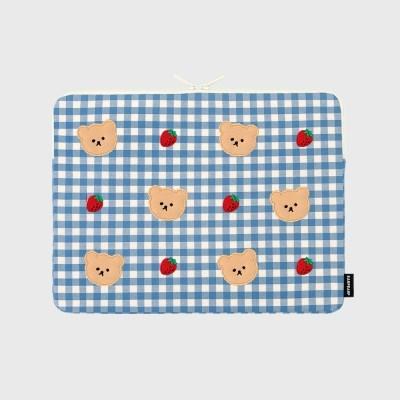 Dot strawberry check-blue(13인치 노트북파우치)