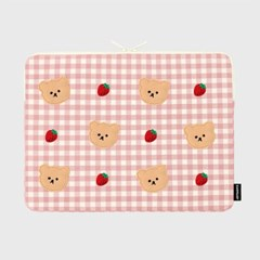[04.26 예약배송]Dot strawberry check-pink-15inch notebook pouch
