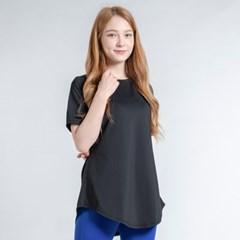 이지 롱 반팔 티셔츠 DTF0S-3011 블랙