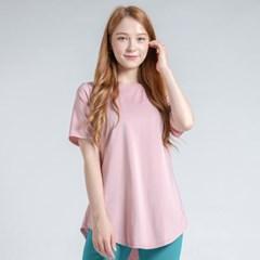 이지 롱 반팔 티셔츠 DTF0S-3011 인디핑크