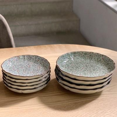 일본 도자기 아리타 스위트 원형 접시 소5p 중4p