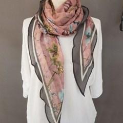 플라워 꽃무늬 마름모 패션 승무원 트윌리 스카프