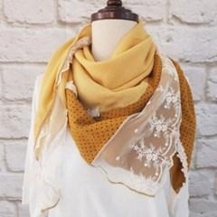 도트 땡땡이 레이스 정사각 할머니 패션 스카프