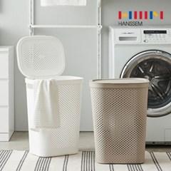 [한샘] 도트 패턴 빨래함 2종 빨래 세탁 바구니 통