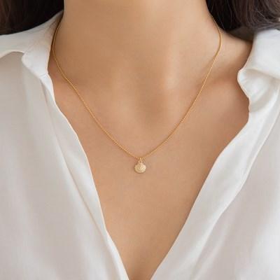 14k gf bead ball chain shell necklace (14k 골드필드)
