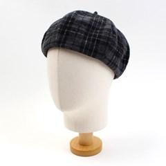 Tartan Check Wool Gray Beret 체크베레모