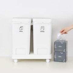 원터치 2칸 분리수거함 + 전용 비닐봉투 20L 100매_(1280414)