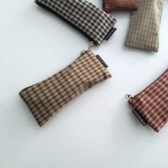 베이지 체크 필통(Vintage Beige check pencil case)