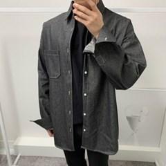가을 남성 오버핏 진청 블랙 면 포켓 데님 긴팔 셔츠 남방