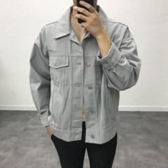 가을 남자 오버핏 면 무지 컬러 포켓 카라 트러커 자켓
