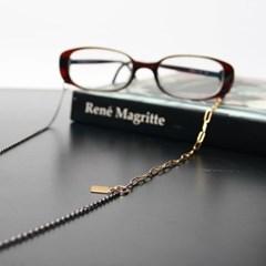 Black simple glasses chain II (gold)