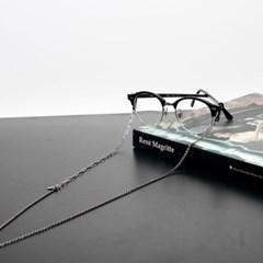 Black simple glassese chain II (silver)