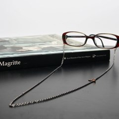 Black simple glasses chain (gold)