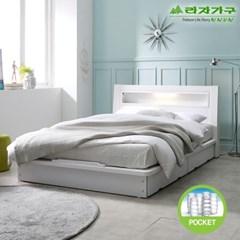 라자가구 오브 에단 LED 평상형 독립스프링 Q 침대 DM9043