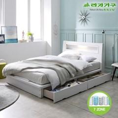라자가구 오브 에단 LED 2서랍평상형 7존독립 Q 침대 DM9054