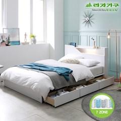 라자가구 오브 아바 LED 3서랍수납형 7존독립 Q 침대 DM9074
