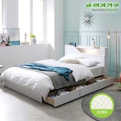 라자가구 오브 아바 LED 3서랍수납형 독립CL텍스 Q 침대 DM9075