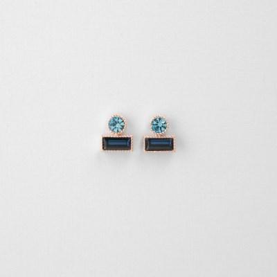 [쥬디앤폴] 뮤니 코발트블루 라운드 앤 렉탱글 귀걸이 E51623