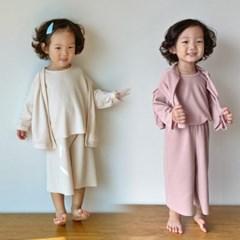 오) 맘커플 마실 아동 3종세트(긴팔+바지+가디건)