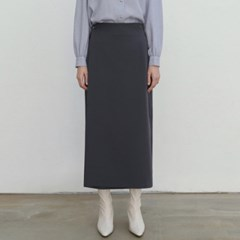SEMI H-LINE WRAP SKIRT_CHARCOAL
