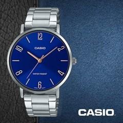 CASIO 카시오 MTP-VT01D-2B2 남성시계 메탈밴드 손목시계