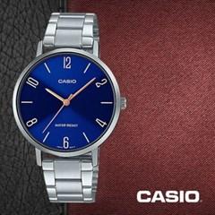CASIO 카시오 LTP-VT01D-2B2 여성시계 메탈밴드 손목시계