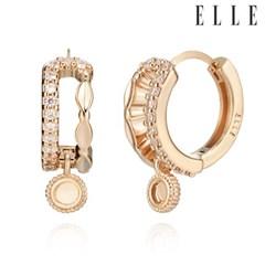 14K 컷팅 큐빅 언발 원터치 귀걸이 (gold pin) ELGPEE274
