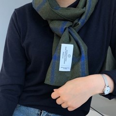slowstitch green winter check muffler