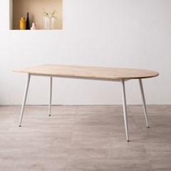 렌 고무나무 반타원형 원목 6인용 식탁 1800(의자미포함)