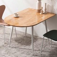 렌 고무나무 반타원형 원목 2인용 식탁 1200(의자미포함)