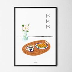 휴휴휴 라떼와 크로아상 M 유니크 인테리어 디자인 포스터 카페