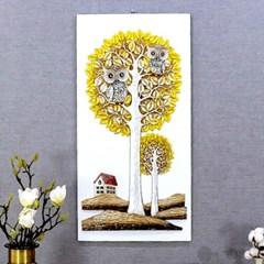 황금 돈나무 부엉이집 액자