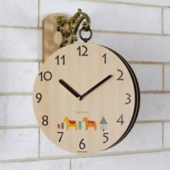 우드스타일 벽시계 무소음 벽 양면시계