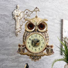 부엉이 패밀리 빈티지 양면시계(골드' 실버)