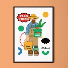 팜 프레시 M 유니크 인테리어 디자인 포스터 과일 채소 농사