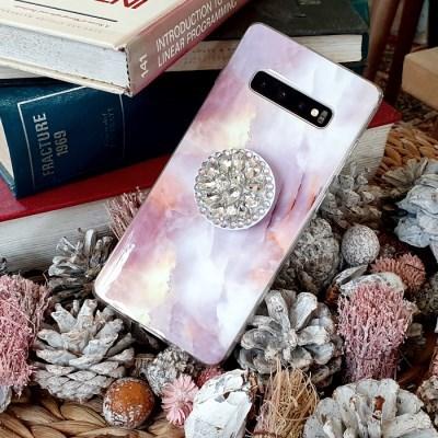 빈티지 핑크 대리석 큐빅 그립톡 휴대폰케이스 갤럭시/아이폰