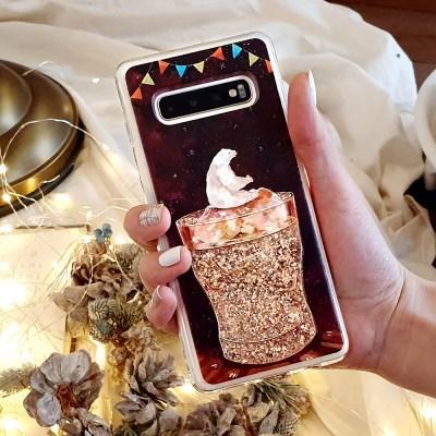 얼음곰 움직이는 액체 글리터 휴대폰케이스 갤럭시/아이폰