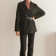 가을 루즈핏 카라 어깨퍼프 허리버클 두꺼운 긴팔 코트