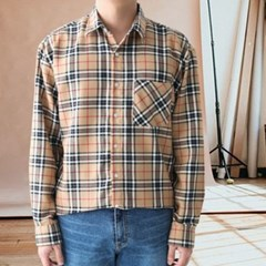 가을 남성 남여공용 오버핏 박시 플라넬 바바리 체크 셔츠 남방