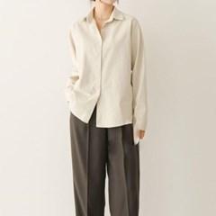 겨울 오버핏 카라 보이시한 면 기본 무지 박시 긴팔 셔츠
