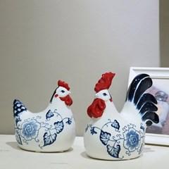 1810 청 도자기 닭 2P